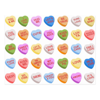 Candy Hearts Valentine's Day Postcard