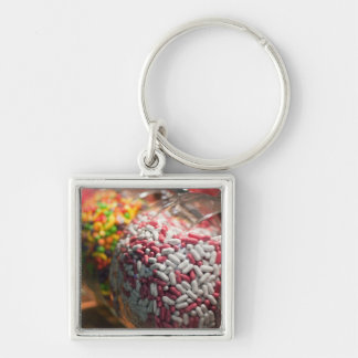Candy Jars Silver-Colored Square Key Ring