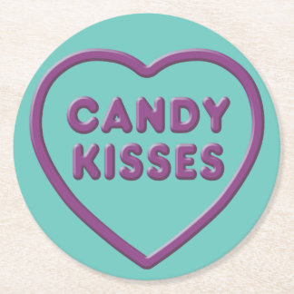 Candy Kisses Round Paper Coaster