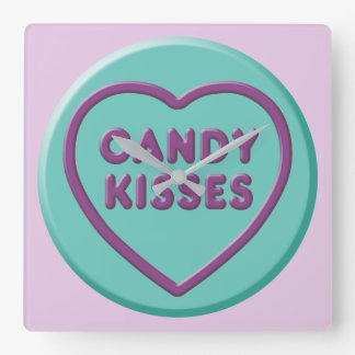 Candy Kisses Square Wall Clock