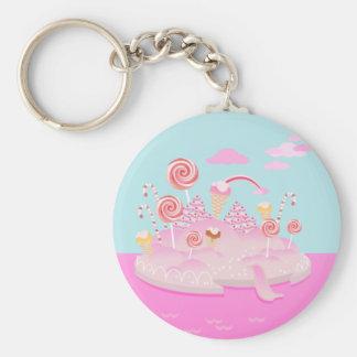 Candy land birthday party basic round button keychain