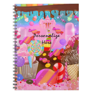 Candy Land Fantasy Cupcakes & Sweet Candy Theme Notebook