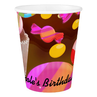 Candy Land Party Fantasy Birthday Personalized Paper Cup
