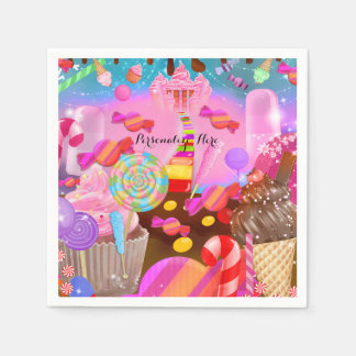 Candy Land Party Fantasy Birthday Personalized Paper Napkin