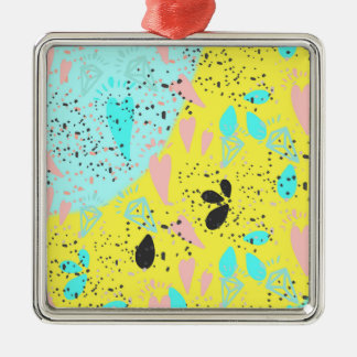 Candy Pastels Pop Art Pattern Silver-Colored Square Decoration