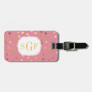 Candy Pink and Gold Glitter City Dots Monogram Luggage Tag