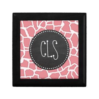 Candy Pink Giraffe Animal Print; Retro Chalk Trinket Boxes