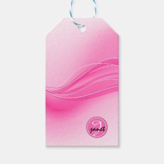Candy Pink Modern Waves Monogram Gift Tags