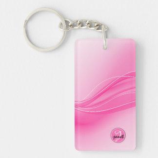 Candy Pink Modern Waves Monogram Key Ring