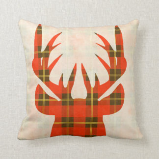 Candy Red Plaid Deer Pillow