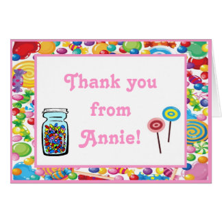 Candy Shop Birthday Thank You Note Cards