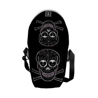 Candy Skulls Black & White Messenger Bag