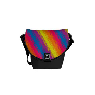 Candy Stripe Bright Rainbow Courier Bag