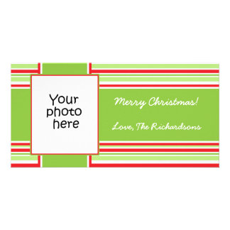 Candy Stripe Photo Christmas card 4x8