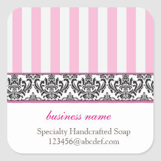 Candy stripe product label square sticker