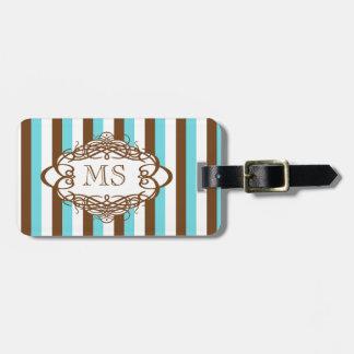 Candy stripe vintage monogram luggage tag