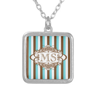 Candy stripe vintage monogram personalized necklace