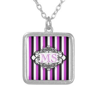 Candy stripe vintage monogram pendant