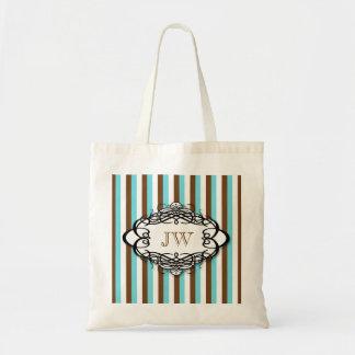 Candy stripe vintage monogram budget tote bag