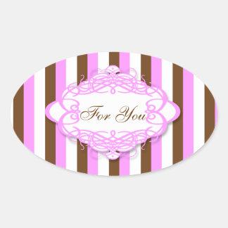 Candy stripe wedding vintage monogram oval sticker