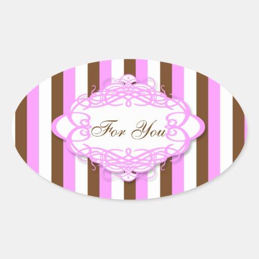 Candy stripe wedding vintage monogram stickers