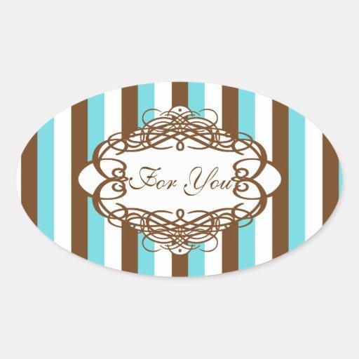 Candy stripe wedding vintage monogram oval stickers