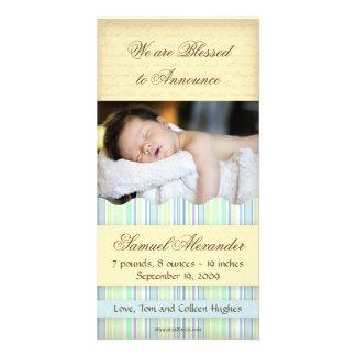 Candy Striped Photo Card: Boy Card