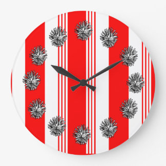 Candy striped round clock shown in cardinal red