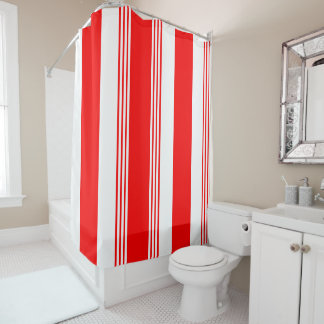 Candy striped shower curtain shown in cardinal red