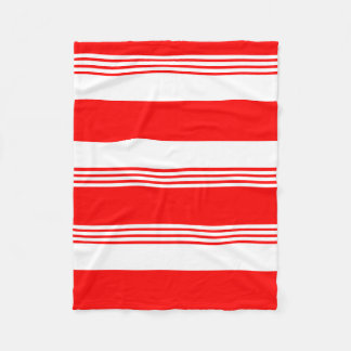 Candy striped small fleece blanket in cardinal red
