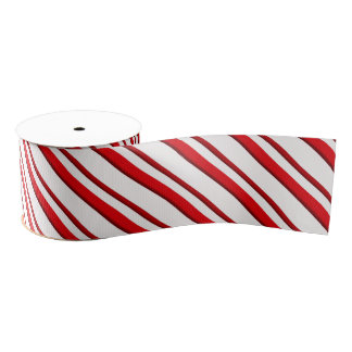 Candy Stripes, peppermint red & white Grosgrain Ribbon