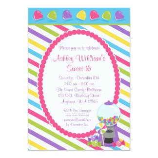 Candy Stripes Sweet 16 Birthday Card
