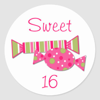 Candy Sweet 16 Birthday Party Envelope Seal Round Sticker