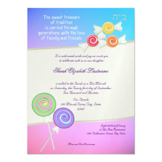 Candy Sweet Bat Mitzvah Blue Raspberry 5.5x7.5 Paper Invitation Card