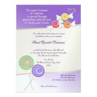 Candy Sweet Bat Mitzvah Grape Custom Announcement