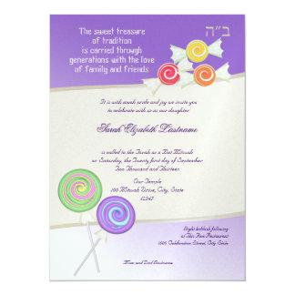 Candy Sweet Bat Mitzvah Grape 5.5x7.5 Paper Invitation Card