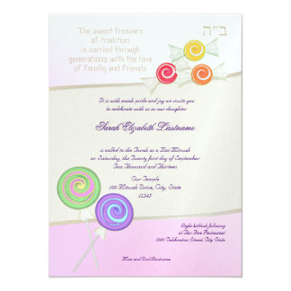"Candy Sweet Bat Mitzvah 5.5"" X 7.5"" Invitation Card"