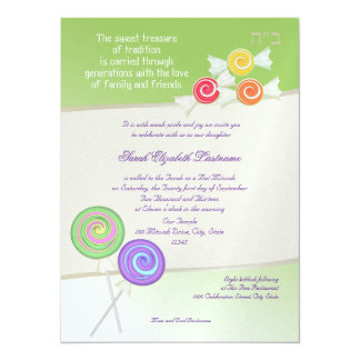 Candy Sweet Bat Mitzvah Lime 14 Cm X 19 Cm Invitation Card