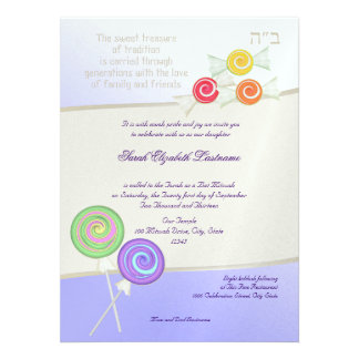 Candy Sweet Bat Mitzvah Personalized Announcements