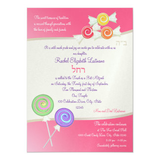 Candy Sweet Bat Mitzvah Watermelon Dark Pink 14 Cm X 19 Cm Invitation Card