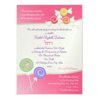 Candy Sweet Bat Mitzvah Watermelon Dark Pink 5.5x7.5 Paper Invitation Card