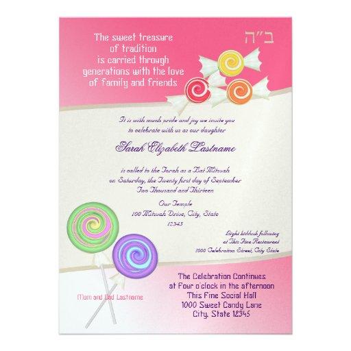 Candy Sweet Bat Mitzvah Watermelon Pink 2 Announcement