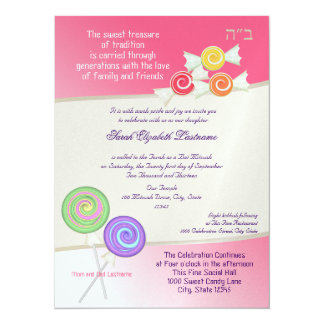 Candy Sweet Bat Mitzvah Watermelon Pink 2 14 Cm X 19 Cm Invitation Card