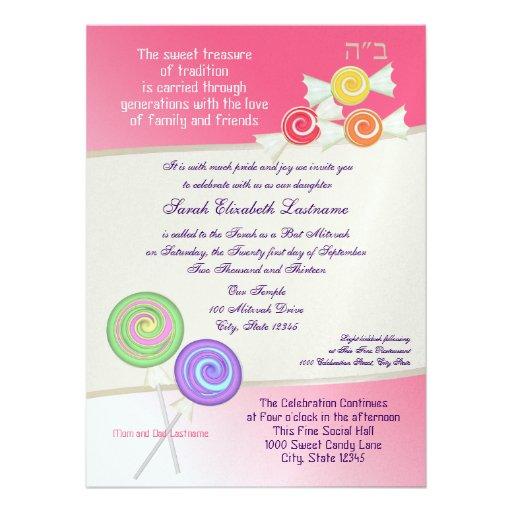 Candy Sweet Bat Mitzvah Watermelon Pink 3 Personalized Invitation