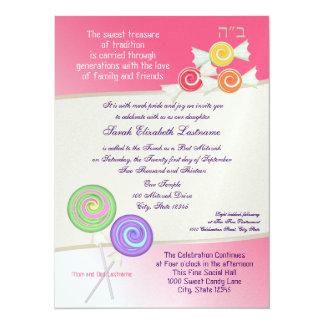 Candy Sweet Bat Mitzvah Watermelon Pink 3 14 Cm X 19 Cm Invitation Card