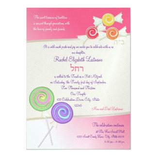 Candy Sweet Bat Mitzvah Watermelon Pink D 14 Cm X 19 Cm Invitation Card
