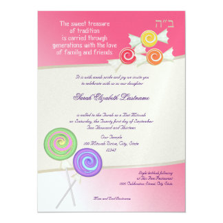 Candy Sweet Bat Mitzvah Watermelon Pink 14 Cm X 19 Cm Invitation Card