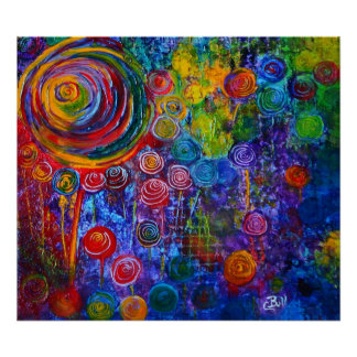 Candy Swirls Circles Pattern Abstract Art Poster