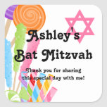 Candy Theme Bat Mitzvah Favour Square Sticker