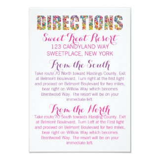 Candy Theme DIRECTIONS Card 9 Cm X 13 Cm Invitation Card